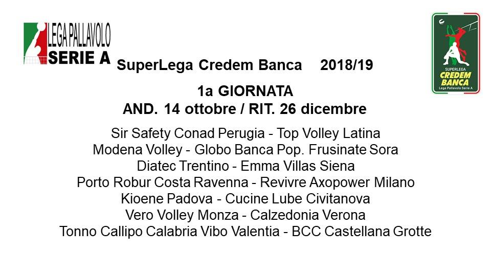 Lega Volley Calendario.Superlega Credem Banca Tutto Il Calendario 2018 19